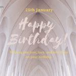 24th january born cute birthday wishes grey background
