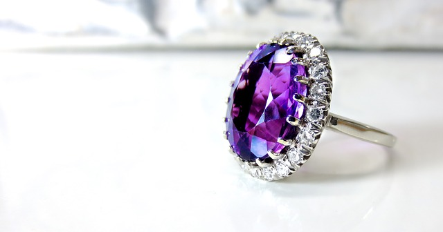 Beautiful amethyst birthstone in engagement rings